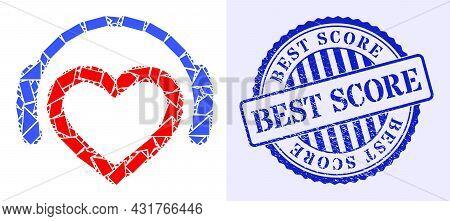 Detritus Mosaic Favourite Dj Headphones Icon, And Blue Round Best Score Grunge Stamp Print With Capt