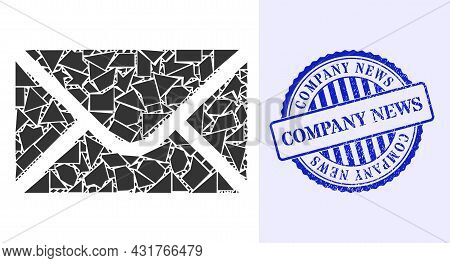 Fragment Mosaic Envelope Icon, And Blue Round Company News Rubber Seal With Word Inside Round Form.