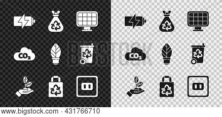 Set Battery, Garbage Bag With Recycle, Solar Energy Panel, Plant In Hand, Paper, Electrical Outlet,