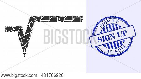 Debris Mosaic Square Root Icon, And Blue Round Sign Up Dirty Stamp With Text Inside Round Shape. Squ