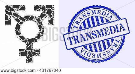 Debris Mosaic Polyandry Sex Symbol Icon, And Blue Round Transmedia Unclean Stamp With Word Inside Ci