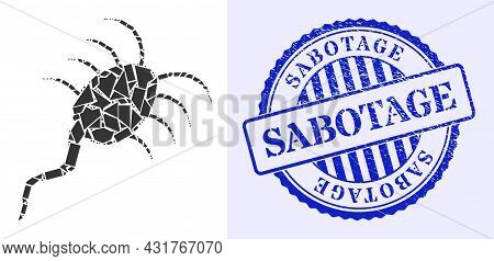 Detritus Mosaic Infection Microbe Icon, And Blue Round Sabotage Scratched Stamp Imitation With Word