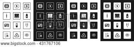 Set Lightning Bolt, Ampere Meter, Multimeter, Voltmeter, Audio Jack, Processor With Microcircuits Cp