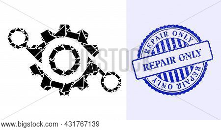Debris Mosaic Gear Project Icon, And Blue Round Repair Only Scratched Stamp With Word Inside Round F
