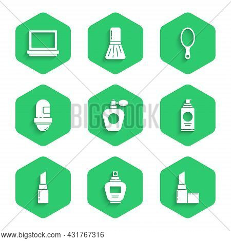 Set Perfume, Lipstick, Spray Can For Hairspray, Antiperspirant Deodorant Roll, Hand Mirror And Makeu