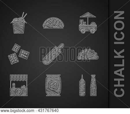Set French Hot Dog, Bag Or Packet Potato Chips, Sauce Bottle, Taco With Tortilla, Street Stall Awnin