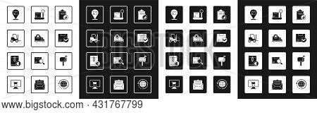 Set Verification Of Delivery List Clipboard, Delivery Cargo Truck Vehicle, Forklift, Location With C
