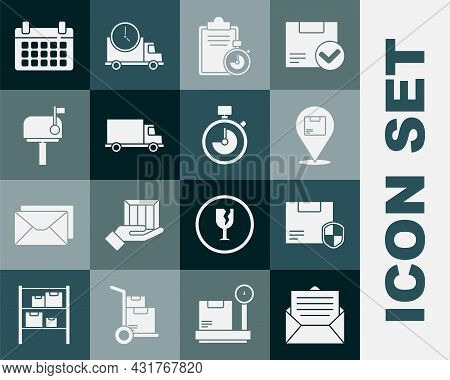 Set Envelope, Delivery Security With Shield, Location Cardboard Box, Verification Of Delivery List C