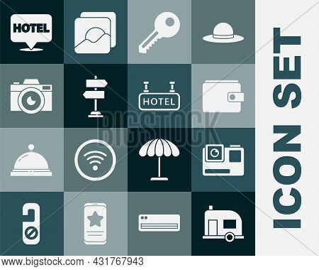 Set Rv Camping Trailer, Action Extreme Camera, Wallet, Key, Road Traffic Sign, Photo, Location Hotel