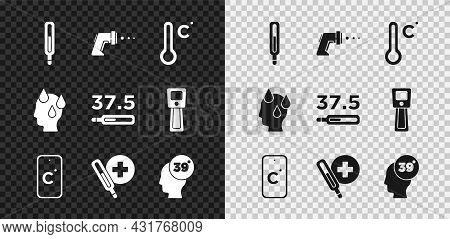 Set Medical Thermometer, Digital, Meteorology, Celsius, High Human Body Temperature, And Icon. Vecto