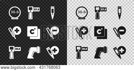 Set Medical Thermometer, Digital, And Celsius Icon. Vector