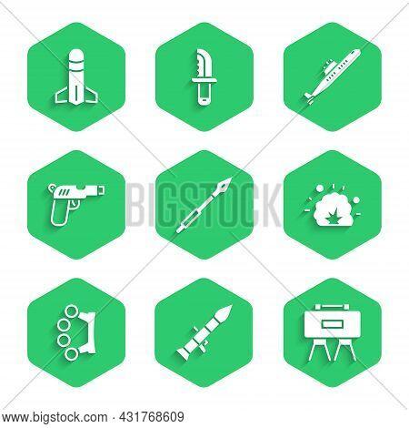 Set Medieval Spear, Rocket Launcher, Military Mine, Bomb Explosion, Brass Knuckles, Pistol Or Gun, S