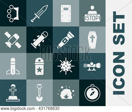 Set Compass, Sniper Optical Sight, Coffin With Cross, Military Assault Shield, Rocket, Satellite, Br