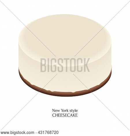 American Dessert New York Style Cheesecake. Colorful Cartoon Style Illustration For Cafe, Bakery, Re