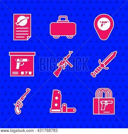 Set Tommy Gun, Gun Magazine And Bullets, Buying Pistol, Military Knife, Revolver, Ammunition Box, Lo