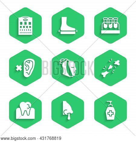 Set Toothache, Runny Nose, Liquid Antibacterial Soap, Human Broken Bone, With Caries, Deaf, Test Tub