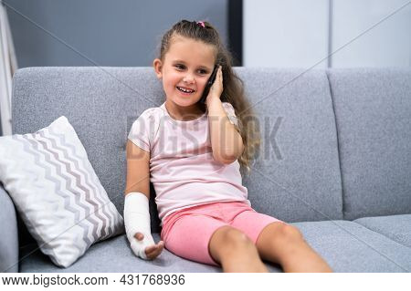 Arm Fracture And Cast. Injured Young Child Recovery