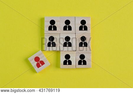 Wooden Block With People Symbol. Talent Acquisition, Searching For Talent Or Employee Conceptual.