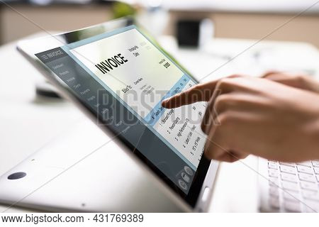 E Invoice On Laptop. Online Electronic Bill Management