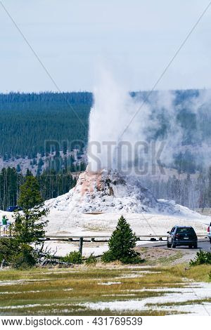 White Dome Geyser Erupts In Yellowstone National Park - Wyoming, Usa - August 21, 2021