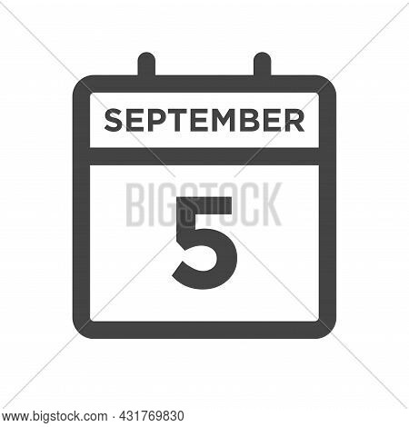 September 5 Calendar Day Or Calender Date For Deadline And Appointment