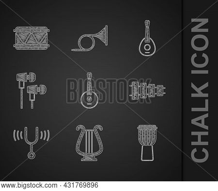Set Banjo, Ancient Lyre, Drum, Xylophone, Musical Tuning Fork, Air Headphones, Guitar And Icon. Vect