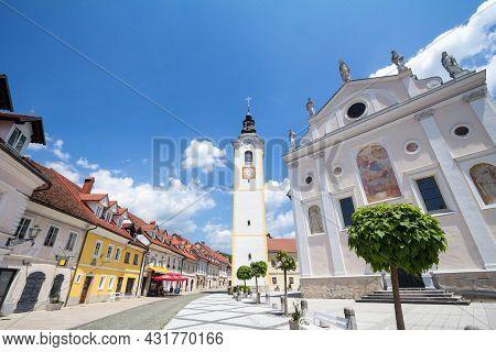 Kamnik, Slovenia - June 16, 2021: Church Tower, Cerkveni Stolp, On The Zupinjska Cerkev, A Baroque R
