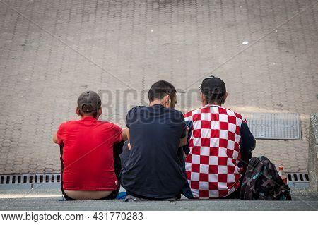 Zagreb, Croatia - June 19 2021: Men, Football Supporters, Wearing Football Soccer Jersey T-shirts, F