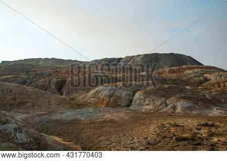 The Clay Quarry Resembles A Cosmic Landscape.ural Mars.top View Of The Hills Made Of Refractory Colo