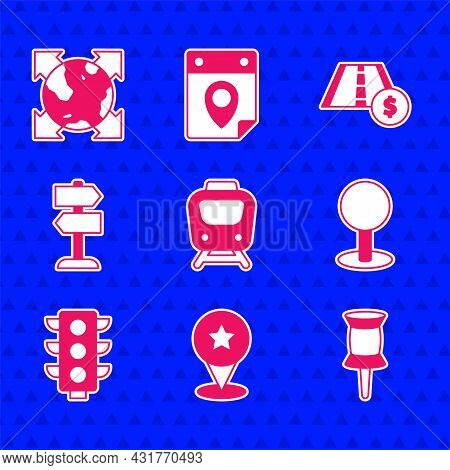 Set Train, Map Pointer With Star, Push Pin, Traffic Light, Road Traffic Sign, Toll Road And World Gl