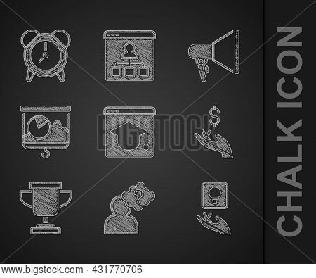 Set Online Education, Head With Question Mark, Light Bulb, Hand Holding Coin Money, Award Cup, Chalk