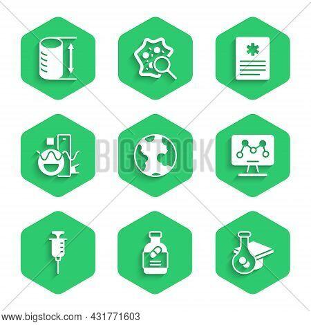 Set Earth Globe, Medicine Bottle And Pills, Graduation Cap, Genetic Engineering, Syringe, Basic Geom
