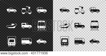 Set Car, Scooter, Off Road Car, Delivery Cargo Truck, Bus, Rafting Boat And Icon. Vector