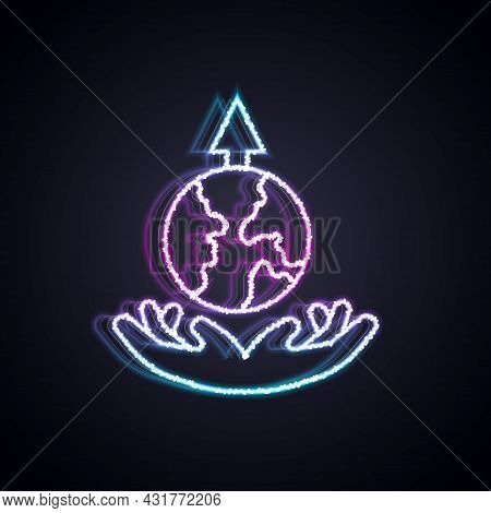 Glowing Neon Line World Expansion Icon Isolated On Black Background. Vector