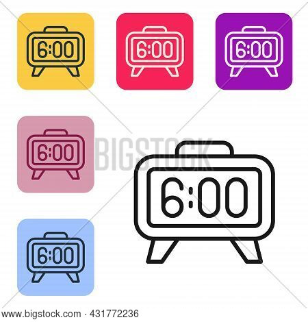Black Line Digital Alarm Clock Icon Isolated On White Background. Electronic Watch Alarm Clock. Time
