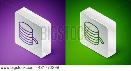 Isometric Line Plastic Filament For 3d Printing Icon Isolated On Purple And Green Background. Silver