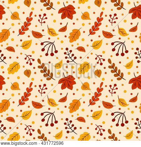 Autumn Leaves Seamless Pattern, Repeating Vector Texture