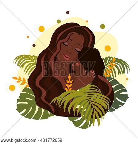 African American Mom Holds Daughter In Her Arms, Hugs Her Child. Happy Mothers Day Concept. Vector I