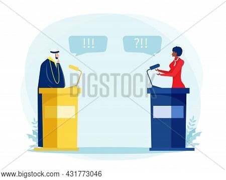 Muslim Arabic With Black Woman Speak Politician Debate Or Conference About Vector Illustrator