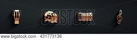 Set Guitar, Music Note, Tone, Accordion And Treble Clef Icon With Long Shadow. Vector