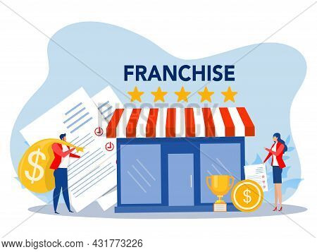 Franchise Shop Business,people Shopping And Start Franchise Small Enterprise, Company Or Shop With H