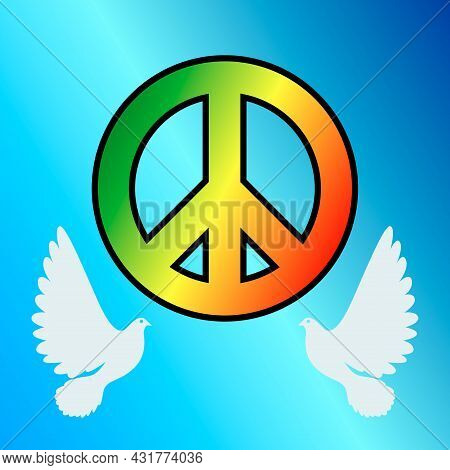 Wallpaper With The Image Of A Hippie Icon With Silhouettes Of Pigeons On A Blue Background. Vector I