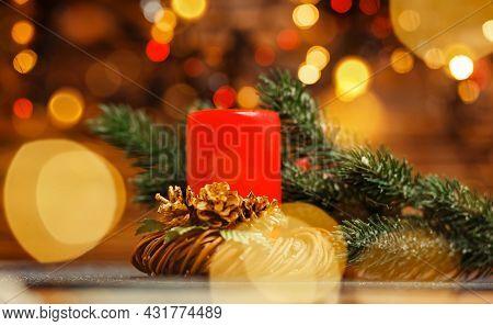 Vintage Christmas Decor. Colorful Bokeh. Golden Xmas. Christmas Candles And Lights. Burning Candles