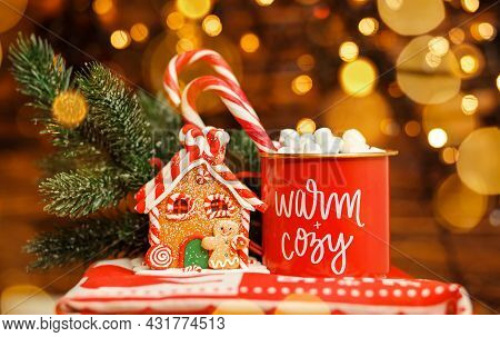 Hot Chocolate With Marshmallows. Warm Cozy Christmas Drink In A Wooden Tray. Cozy Hot Chocolate With