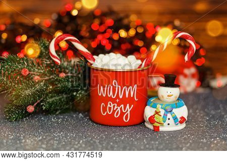 Xmas Decoration At Home. Warming Winter Drink. Christmas Themed Mug With Inscription. Cozy Warm Fami