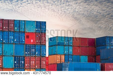 Container Logistic. Cargo And Shipping Business. Container Ship For Import And Export Logistic. Cont