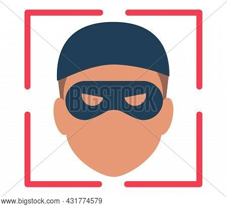Biometrical Identification. Facial Recognition System Concept. Thief Face. Recognition Regection Pro