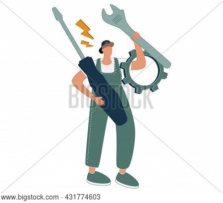 Man Holding Wrench, Screwdriver And Gear Wheel. Concept Of Technical Service, Mechanical Repair, Mai