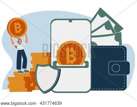 Woman Putting Golden Crypto Coin Into Purse On Laptop Computer. Concept Of Personal Bitcoin Wallet F