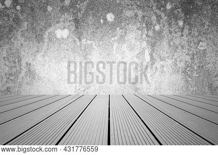 Empty Room Dark Cement Wall Cover With Floor Wood Table. Gray Wood Table Dark Background. Grey Old R